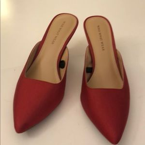 Red kitten heels!  Great for the holidays/ summer